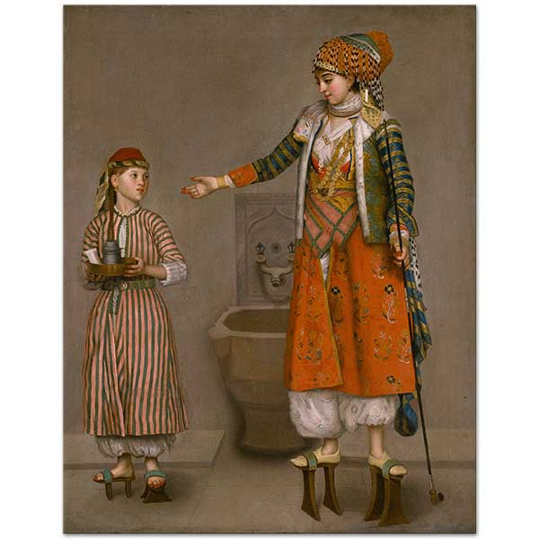 Jean-Etienne Liotard A Lady in Turkish Dress and Her Servant Art Print