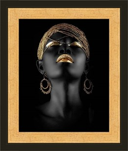 African Woman in Black with Gold Framed Art Print