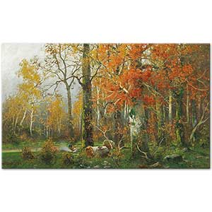 Adolf Kaufmann In an Autumn Woodland Art Print