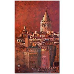 Adviye Özkücük Galata Tower in Red Art Print