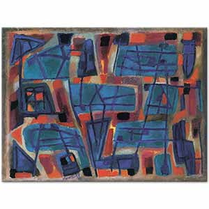 Alfred Manessier Composition Blue Red Art Print