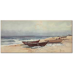 Alfred Thompson Bricher Dories Along The Shore Art Print