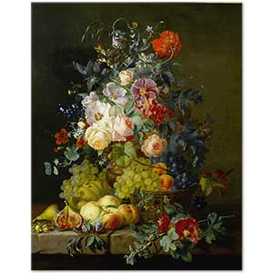 Amalie Kaercher Still Life of Fruit and Flowers Art Print