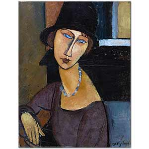 Amedeo Modigliani Jeanne Hebuterne with Hat and Necklace Art Print