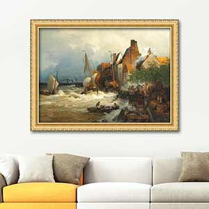 Andreas Achenbach The Homecoming of the Fishermen in Stormy Seas Art Print