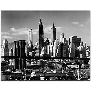 Andreas Feininger The Skyline with Brooklyn Bridge Art Print