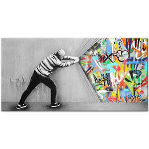 Banksy Behind the Curtain Art Print
