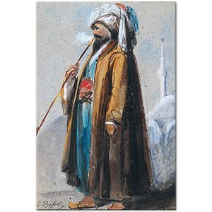 Carlo Bossoli A Turk Smoking before a Mosque Art Print