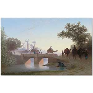 Charles Theodore Frere A Camel Train Crossing a River Art Print