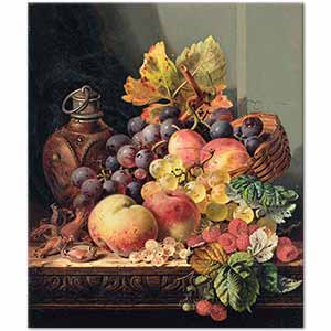 Edward Ladell Hazelnuts Grapes Peaches Raspberries and Plums Art Print