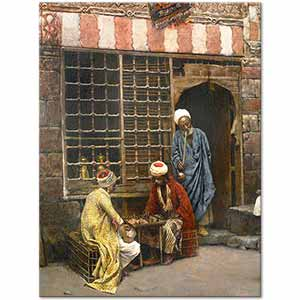 Edwin Lord Weeks A Game of Chess in Cairo Street Art Print