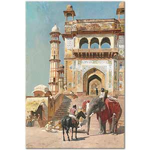 Edwin Lord Weeks Before the Great Mosque Mathura Art Print
