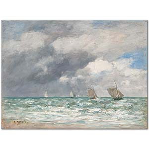 Eugene Boudin Sailboats Near Trouville Art Print