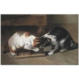 Eugene Remy Maes Two Cats with a Prey Art Print