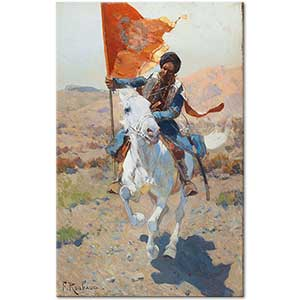Franz Roubaud A Rider with a Red Flag Art Print