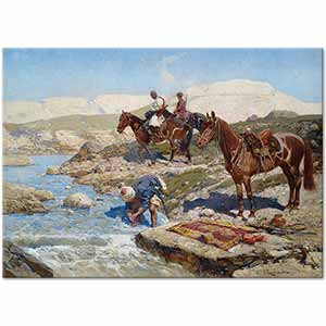 Franz Roubaud Circassian Horsemen on a River Art Print