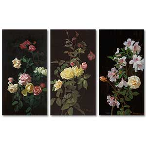 George Cochran Lambdin Still Life with Roses 3 Pieces Set Art Print