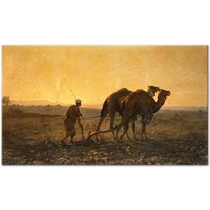 Gustave Achille Guillaumet Plowing Arab with Dromedaries in Evening Landscape Art Print