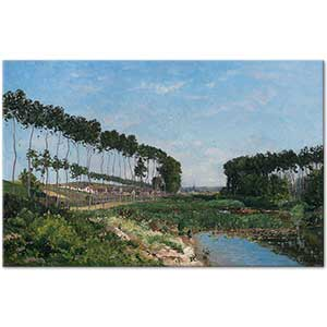 Hippolyte Camille Delpy A Tree Lined River Landscape Art Print