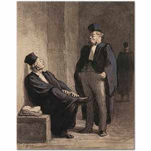 Honore Daumier Conversation of Lawyers Art Print