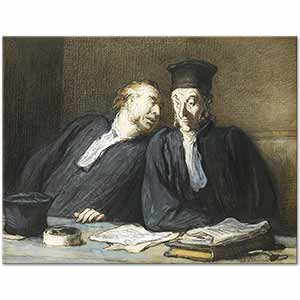 Honore Daumier Two Lawyers Conversing Art Print