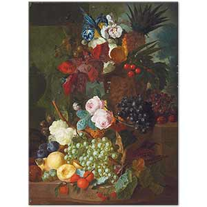 Jan van Os Still Life of Flowers and Fruits Art Print