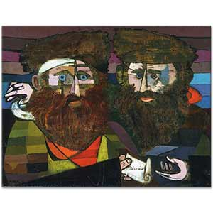 Jankel Adler Two Rabbis Art Print