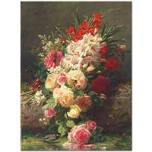 Jean Baptiste Robie Roses  Gladioli and Other Flowers Art Print