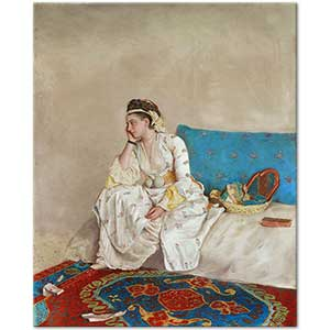 Jean-Etienne Liotard Woman in Turkish Dress Seated on a Sofa Art Print