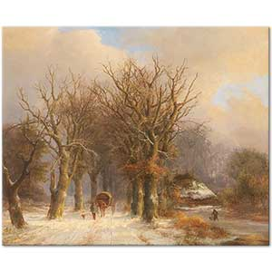 Johann Bernhard Klombeck Winter Landscape with Horse and Cart Art Print