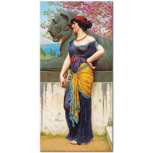 John William Godward In The Grove Of The Temple Of Isis Art Print