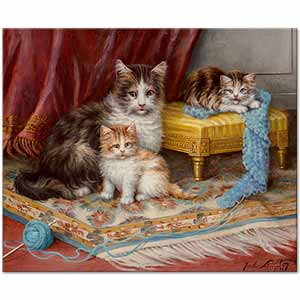 Jules Leroy Kittens with Yarn Art Print