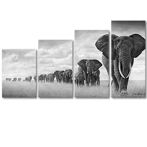 Last March of Elephants 4 Pieces Canvas Set Art Print