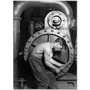 Lewis Hine Power House Mechanic Working on Steam Pump Art Print