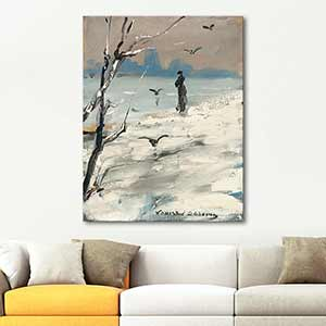 Louise Abbema Elegant Woman on a Winters Walk Art Print