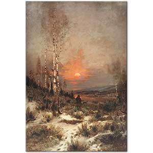 Ludwig Lanckow Evening Winter Landscape with a Hunter Art Print