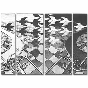 Maurits Cornelis Escher Day and Night 4 Pieces Canvas Set