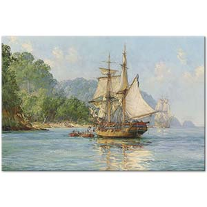 Montague Dawson Pirates Haunt Cocos Island Pacific Art Print
