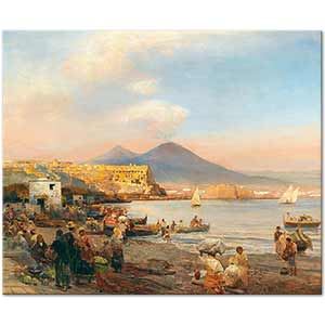 Oswald Achenbach Sunset in the Bay of Naples Art Print