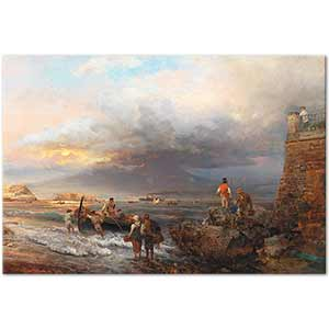 Oswald Achenbach The Bay of Naples with Vesuvius Art Print