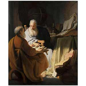 Rembrandt van Rijn Two Old Men Disputing Art Print