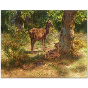 Rosa Bonheur Deer and Fawn in a Wood Art Print