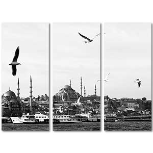Suleymaniye Mosque From Golden Horn 3 Pieces Canvas Set Art Print