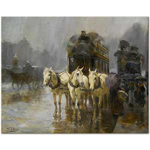 Ulpiano Checa y Sanz A Rainy Day Paris Art Print