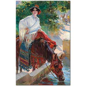 Ulpiano Checa y Sanz Watering the Horse Art Print