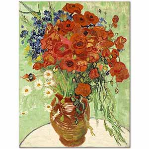 Vincent van Gogh Vase with Daisies and Red Poppies Art Print