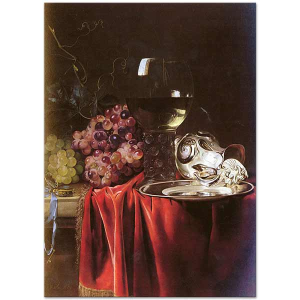 Willem van Aelst Still Life with Silver Plate and Glass Art Print